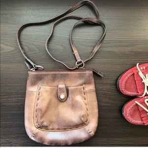 Fossil Brown Leather Saddle Crossbody Bag
